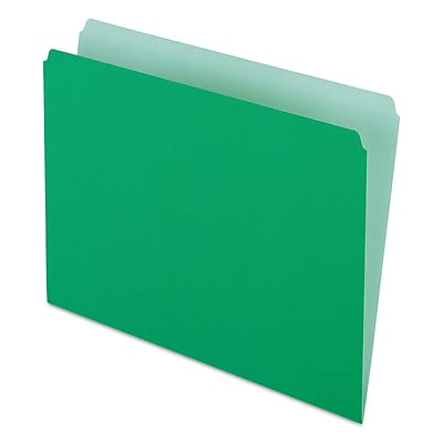 Pendaflex Two-Tone File Folders, Straight Cut, Top Tab, Letter, Green/Light Green, 100/Box