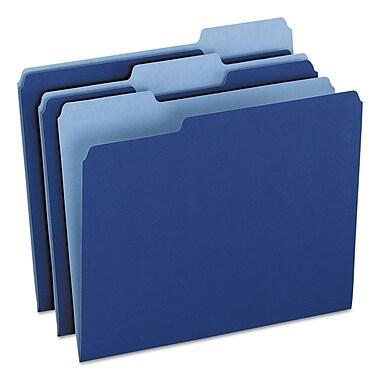 Pendaflex Colored File Folders, Letter, Navy Blue/Light Navy Blue, 100/Box (1521/3NAV)