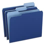 Pendaflex® Colored File Folders, Letter, Navy Blue/Light Navy Blue, 100/Box (1521/3NAV)