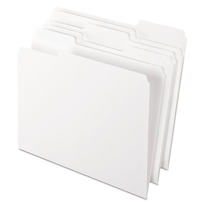 Pendaflex® Colored File Folders, Letter, White, 100/Box (1521/3WHI)