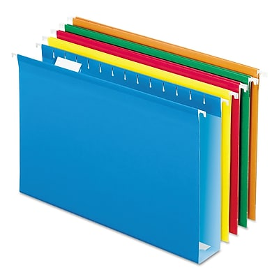 Pendaflex® Extra Capacity Reinforced Hanging File Folders with Box Bottom, Assorted, Legal, 25/Box (4153X2ASST)