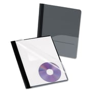 Oxford® Clear Front Report Cover with Pocket and CD Slot, Clear/Onyx, 25/Box (57727)