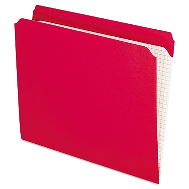 Pendaflex Double-Ply Reinforced Top Tab Colored File Folders, Letter, Red, 100/Box (R152RED)