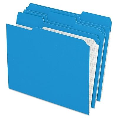 Pendaflex® Double-Ply Reinforced Top Tab Colored File Folders, Letter, Blue, 100/Box (R15213BLU)