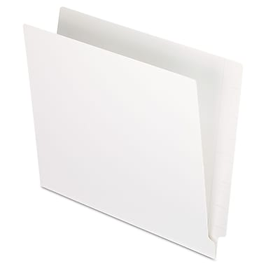 Pendaflex Colored End Tab Folders with Reinforced Double-Ply Straight Cut Tabs, Letter, White, 100/Box (H110DW)
