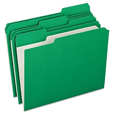 Pendaflex Double-Ply Reinforced Top Tab Colored File Folders, Letter Size, Bright Green, 100/Box (R15213BGR)