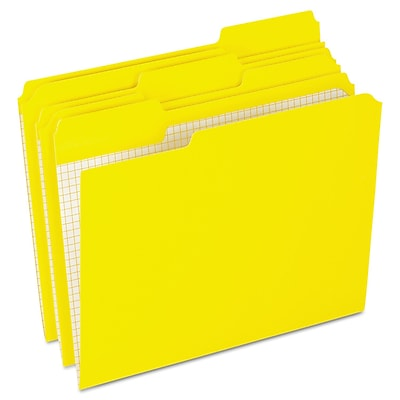 Esselte Reinforced Top File Folder, 1/3 Tab Cut, Yellow, LETTER-size Holds 8 1/2