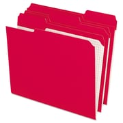 Pendaflex® Double-Ply Reinforced Top Tab Colored File Folders, Letter, Red, 100/Box (R15213RED)