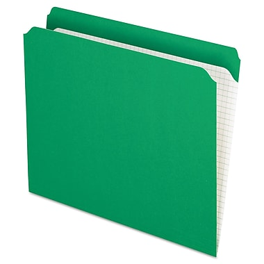 Pendaflex Double-Ply Reinforced Top Tab Colored File Folders, Letter, Bright Green, 100/Box (R152BGR)