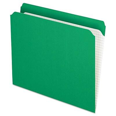 Pendaflex Reinforced Top Tab File Folders, Straight Cut, Letter, Bright Green, 100/Box
