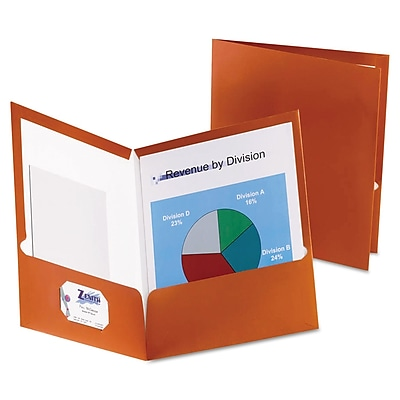 Oxford Two-Pocket Laminated Paper Folder, 100-Sheet Capacity, Metallic Copper, 25/BX