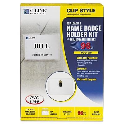 C-Line Clip-Style Top Load Laser/Ink Jet Badge Holder Kit, White, 4