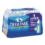 Deer Park® Natural Spring Water, 1 liter Bottle, 15/Carton (828474)