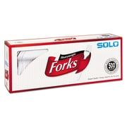 SOLO® Cup Company Heavyweight Plastic Cutlery, Fork, Polystyrene Plastic, White, 500/Carton (827263)