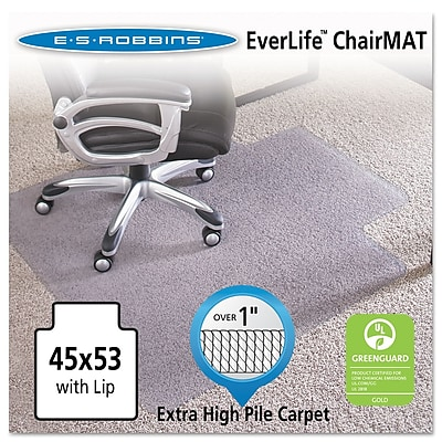 ES Robbins EverLife™ 53''x45'' Vinyl Chair Mat for Carpet, Rectangular w/Lip, Clear (ESR124173)