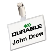 """Durable® Click-Fold® Convex Name Badge Holders, Clear, 3 3/4"""" x 2 1/4"""", 25/Pack (8216-19)"""