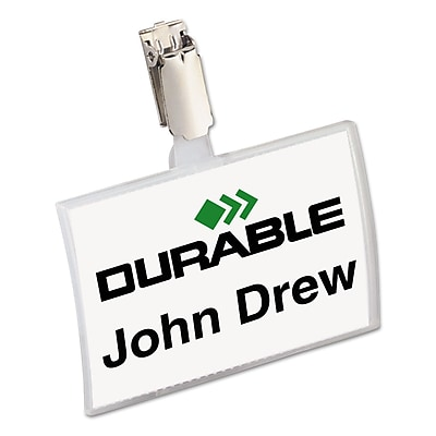 Durable® Click-Fold® Convex Name Badge Holders, Clear, 3 3/4