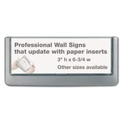 """Durable® Click Sign Holder For Interior Walls, 6 3/4"""" x 3"""", ABS Plastic, Gray, Each (4976-37)"""