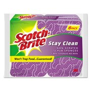 Scotch-Brite® Stay Clean Non-Scratch Scrub Sponge, Light Purple/Dark Purple, 6/Pack (20206-6)