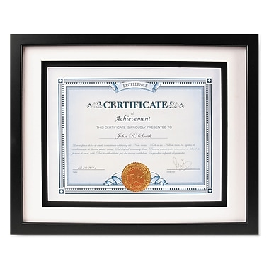 DAX® Solid Wood Float Frame, Wood, 11 x 14 matted to 8 1/2 x 11, Black, Each (N15989ST)