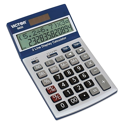Victor 9800 Easy Check Two-Line Calculator, 2 Lines, 12 Characters, LCD, Solar, Battery Powered, 7.3