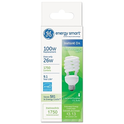 GE Energy Smart® Compact Fluorescent Spiral Light Bulb, 26 W, Soft White, T3 Spiral, 10/Pack (80890)