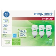 GE Energy Smart® Compact Fluorescent Spiral Light Bulb, 20 W, Soft White, T3 Spiral, 3/Pack (GEL97690)