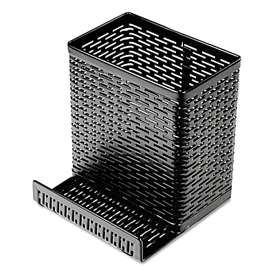 Artistic Urban Collection Punched Metal Pencil Cup with Cell Phone Stand, Black (ART20014) AOPART20014
