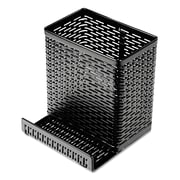 Artistic® Urban Collection Punched Metal Pencil Cup with Cell Phone Stand, Black (ART20014)