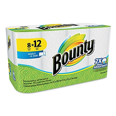 Bounty® Select-a-Size Perforated Roll Towels, 2-Ply, Perforated Roll, White, 105/Roll, 8/Pack (88211)