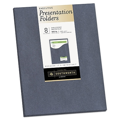 Southworth® One-Pocket Presentation Folders, 9 x 12, Gray Metallic, 8/Pack (98875)