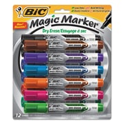 BIC® Magic Marker® Brand Low Odor & Bold Writing Dry Erase Markers, Chisel, Assorted, 1/Set (GELITP121-AST)