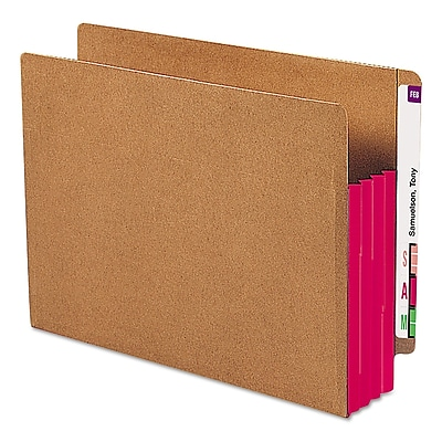 Smead Drop-Front End-Tab File Pockets with Red Gussets, Letter, Redrope, 10/Bx (73686)