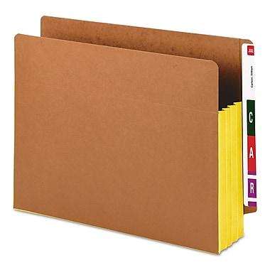 Smead® Redrope Drop-Front End Tab File Pockets with Colored Tyvek® Gussets, Yellow, Letter, 10/Box (73688)