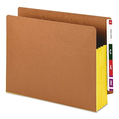Smead Drop-Front End-Tab File Pockets with Yellow Gussets, Letter, Redrope, 10/Bx (73688)