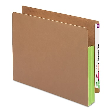 Smead® Redrope Drop-Front End Tab File Pockets with Colored Tyvek® Gussets, Green, Letter, 10/Box (73680)