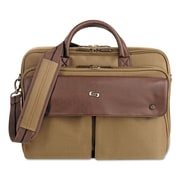 "SOLO® Executive Briefcase, Polyester, 15 1/2"" x 1 7/8"" x 15 1/4"", Khaki/Brown (VTA330-11)"