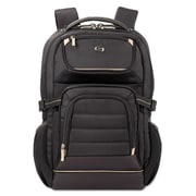 "SOLO® Pro Laptop Backpack, Polyester, 12 1/2"" x 7 1/2"" x 18, Black (PRO742-4)"