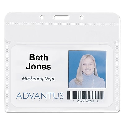 Advantus PVC-Free Badge Holders, Clear, 4