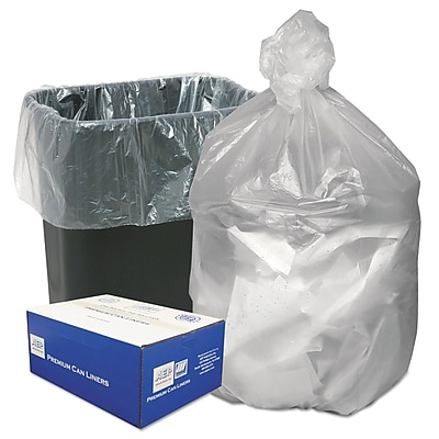 Ultra Plus® Can Liners Trash Bags, 8 microns Thickness, Natural, 16 gal, 1000/Carton (WHD3308)