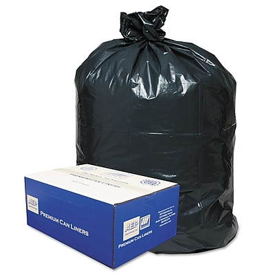Classic Linear Low-Density Can Liners Trash Bags, 0.9 mil Thickness, Black, 56 gal, 100/Carton (WEBWRM48)