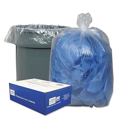 Classic Clear Linear Low-Density Can Liners Trash Bags, 0.9 mil Thickness, Clear, 56 gal, 100/Carton (WEBWRMC48)