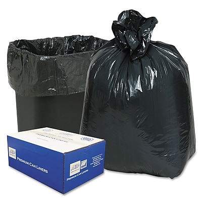 Classic Linear Low-Density Can Liners Trash Bags, 0.6 mil Thickness, Black, 16 gal, 500/Carton (WEBB33)