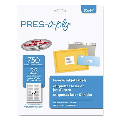 PRES-a-ply Labels, 2/3 x 3 7/16, 750/Pack (30644)