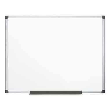 MasterVision Value Lacquered Steel Magnetic Dry Erase Board, White, 48