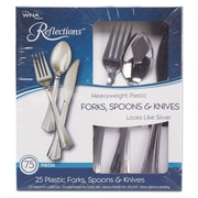 WNA Reflections™ Heavyweight Plastic Utensils, Cutlery Kit, Polystyrene, Silver, 450/Carton (612375)