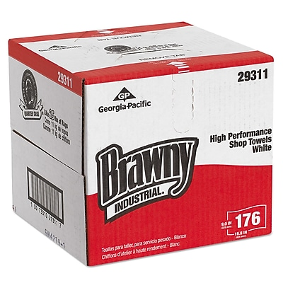 Brawny Industrial® Heavy Weight HEF Disposable Shop Towels, 1-Ply, Dry Wipes, White, 176/Roll, 176/Carton (29311)