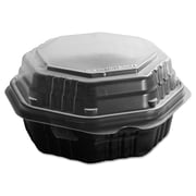 SOLO® Cup Company OctaView® Hinged-Lid Hot Food Containers, Black/Clear, 200/carton (806011-PP94)