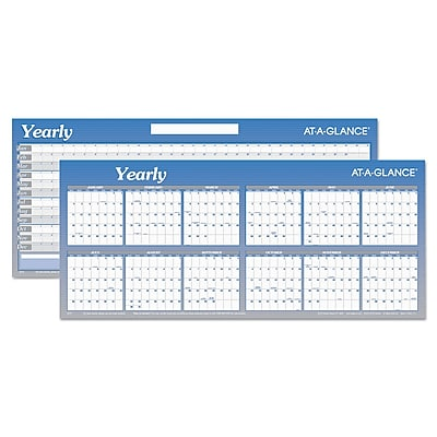 """2019 AT-A-GLANCE® Large Horizontal Erasable Wall Planner, 60"""" x 26"""", White/Blue (A177)"""
