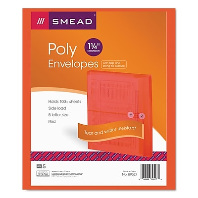 Smead® Poly String & Button Interoffice Envelopes, Transparent Red, 5/Pack (89527)